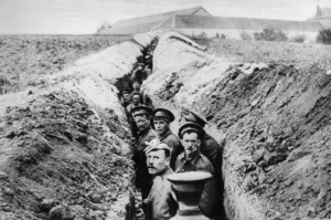 British soldiers in a trench.